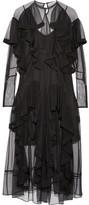 Preen by Thornton Bregazzi Idella Ruffled Tulle Midi Dress - Black