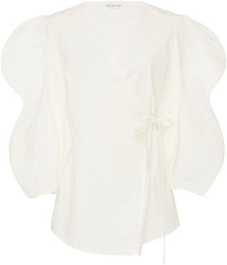 REJINA PYO Mia Cotton Poplin Wrap Top