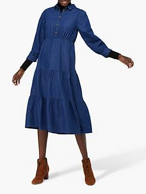 Monsoon Tina Tiered Denim Dress, Blue