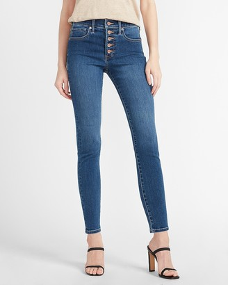 Express Mid Rise Denim Perfect Button Fly Skinny Jeans