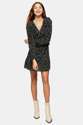 Topshop Womens Black And White Spot Mini Tea Dress - Monochrome