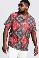 BoohooMAN Big & Tall Tile Print Revere Collar Shirt