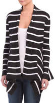 Ribbed Open Front Striped Cardigan