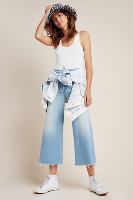Mother The Swooner Ultra High-Rise Cropped Wide-Leg Jeans By in Blue Size 25