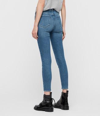 AllSaints Grace Ankle Mid-Rise Skinny Jeans, Indigo Blue