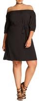 City Chic Plus Size Women's Off The Shoulder Shift Dress