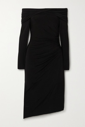 Jason Wu Collection - Off-the-shoulder Ruched Stretch-jersey Dress - Black