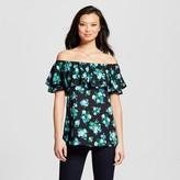 Como Black Women's Floral Printed Off the Shoulder Blouse - Black Combo S