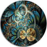 Disc of 23 23 H x 23 W x 1 D 1P Designart Fractal White 3D Waves-Abstract Round Metal Wall Art