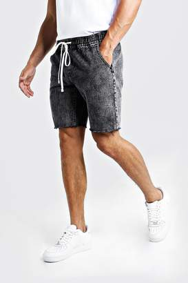 boohoo Relaxed Fit Denim Shorts With Elasticated Waist