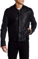 Rogue Faux Leather Denim Sleeve Bomber Jacket