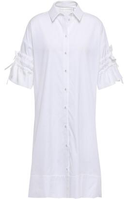 Victoria Victoria Beckham Gathered Cotton-poplin Mini Shirt Dress