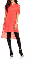 Calvin Klein Roll-Tab Sleeve Hi-Low Hem Button Front Solid Tunic