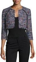 Kay Unger New York 3/4-Sleeve Open-Front Crop Jacket, Black/Multi