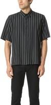 Robert Geller Overdyed Stripe Short Sleeve Shirt