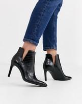 Stradivarius snake embossed skinny heel boot in black
