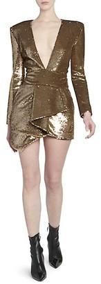 Alexandre Vauthier Micro Sequins Plunge Mini Dress