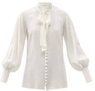 Zimmermann Pussybow Silk Blouse - Ivory