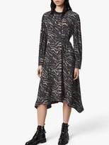 AllSaints Fayre Remix Animal Print Midi Dress, Grey