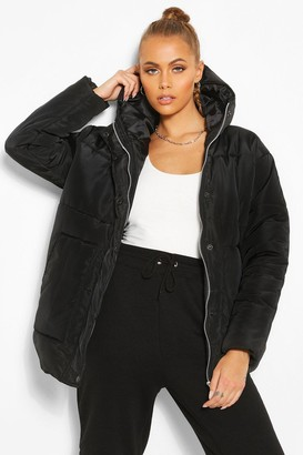 boohoo Matte Satin Hooded Puffer