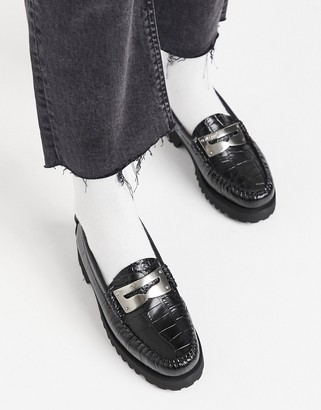 G.H. Bass G H Bass Weejun Penny Plate flatform loafers in black croc