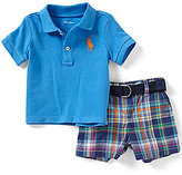 Ralph Lauren Baby Boys 3-24 Months Solid Polo Shirt & Plaid Poplin Shorts