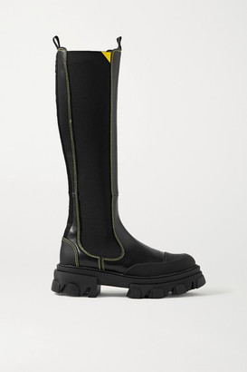 Ganni Rubber-trimmed Leather Chelsea Knee Boots - Black