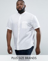 French Connection PLUS Short Sleeve Shirt in Regular Fit Linen Mix