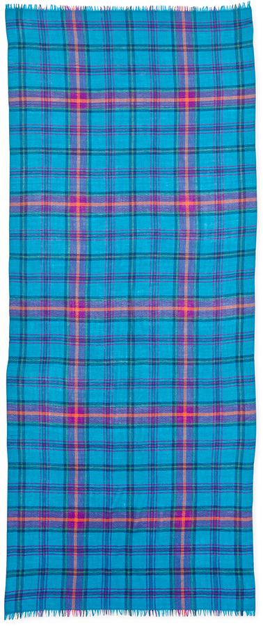 Neiman Marcus Plaid Merino Wool Scarf, Peacock