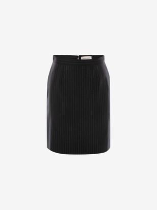 Alexander McQueen Pinstripe Kickback Mini Skirt