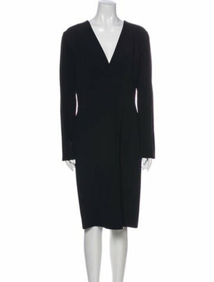Lanvin V-Neck Midi Length Dress Blue