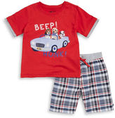 Nannette Baby Boys Driving Dogs Graphic Tee and Shorts Set