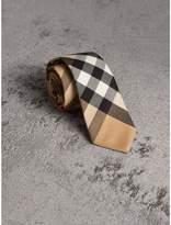 Burberry Modern Cut Check Cotton Cashmere Tie, Brown