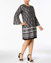 NY Collection Plus Size Bell-Sleeve Shift Dress