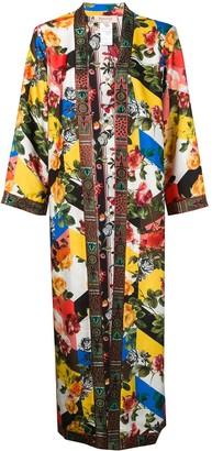 Black Coral floral print kimono