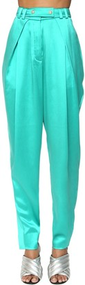 Balmain High Waist Wide Leg Silk Satin Pants