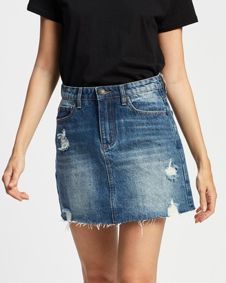 Silent Theory Women's Blue Denim skirts - Leading Denim Skirt - Size One Size, 8 at The Iconic