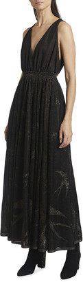 Alaia Birds Pattern V-Neck Sleeveless Metallic Gown