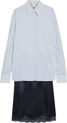 MM6 MAISON MARGIELA Layered Striped Cotton-poplin And Lace-trimmed Satin Dress