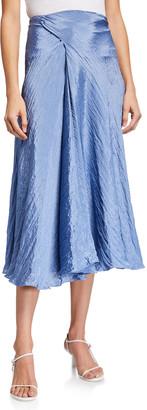 Vince Textured Drape Midi Skirt