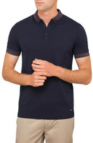 BOSS ORANGE Navy Polo With Contrast Colour Collar And Cuffs