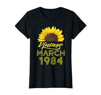 Womens March 1984 Shirt 36th Birthday Decorations Floral T-shirt T-Shirt