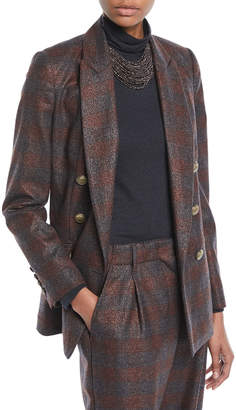 Brunello Cucinelli Double-Breasted Metallic Plaid Blazer Jacket w/ Brass Buttons