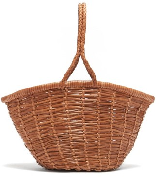 DRAGON DIFFUSION Jane Birkin Small Woven-leather Basket Bag - Tan