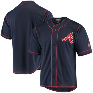 Stitches Atlanta Braves Team Color Button-Down Jersey - Navy/Red