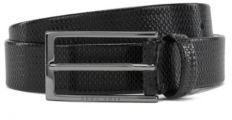 HUGO BOSS Monogram Embossed Belt In Vegetable Tanned Leather - Black