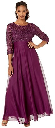 Alex Evenings Long A-Line Dress with Sequin Embroidered Bodice (Bright Plum) Women's Dress