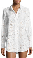 Tory Burch Broderie Anglaise Beach Shirt, White