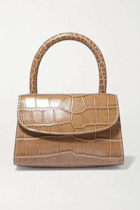 BY FAR Mini Croc-effect Leather Tote - Taupe