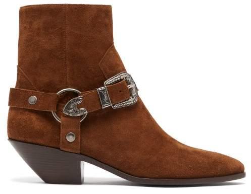 Saint Laurent West Harness Suede Boots - Womens - Tan